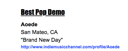 Aoede Receives Indie Music Channel Award for Best Pop Demo! – Aoede
